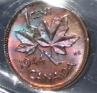 CANADA CENT 1944  ICCS  MS 63 :::: FULL RED ::IRIDESCENT COLORS