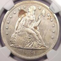 1846 SEATED LIBERTY SILVER DOLLAR $1   NGC AU DETAILS    EARLY DATE COIN