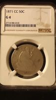 1871 CC SEATED LIBERTY HALF DOLLAR  NGC GRADED G 4