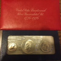 BOTH 1776 1976 BICENTENNIAL 3 PC U.S. MINT SILVER PROOF AND UNCIRCULATED SETS
