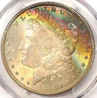 1884 TONED MORGAN SILVER DOLLAR $1   CERTIFIED PCGS MS64   NICE RAINBOW TONING