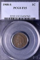 1908 S INDIAN HEAD CENT PENNY PCGS F15 14 19AMB