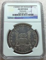 1769 MO MF MEXICO CAROLUS III COLONIAL SILVER 8 REALES NGC AU DETAILS