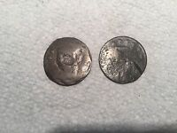 2 US LARGE CENTS FROM THE 1800'S MINTED ON DAMAGED PLANCHETS?