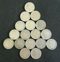 LOT OF 17 1883 NO CENT LIBERTY NICKELS GOOD TO AU
