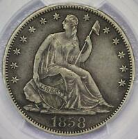 1858 S SEATED LIBERTY HALF DOLLAR PCGS XF40   DOUBLEJCOINS   584A68