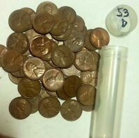 OVER PACKED ROLL OF 1953 D LINCOLN CENTS 52