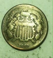 1869 TWO-CENT PIECE -  - BETTER-DATE COIN