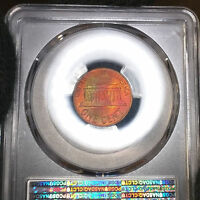 COLORFULLY TONED 1968 S MS65 RB LINCOLN MEMORIAL CENT 1C PENNY GRADED BY PCGS