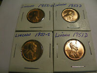 1951-S,1951-D 1953 D, 1955-S LINCOLN CENTS IN BU CONDITION