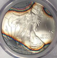 2010 TONED AMERICAN SILVER EAGLE DOLLAR $1 ASE   PCGS MS69   RAINBOW TONING COIN