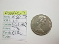 SINGLE COIN FROM AUSTRALIA 10 CENTS 1976 CIRC KM 65  1966 1984