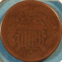 1864 TWO CENT PIECE.OBSOLETE US COPPER COIN CIVIL WAR ERA >SHIPS FREE< 3