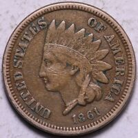 F VF 1861 INDIAN HEAD CENT PENNY R2RCL