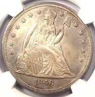 1846 O SEATED LIBERTY SILVER DOLLAR $1   NGC UNCIRCULATED DETAIL UNC MS.