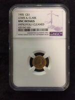 1904 LEWIS AND CLARK G$1 GOLD COMMEMORATIVE NGC UNC DETAILS