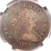 1798 DRAPED BUST SILVER DOLLAR $1 BB 125 B 8   NGC VF DETAILS    COIN