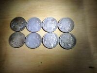 AT24 SEVEN 1919 D AND ONE 1919 S BUFFALO NICKELS ACID WASHED