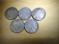 AT22 THREE 1918 D AND TWO 1918 S ACID WASHED BUFFALO NICKELS