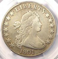 1801 DRAPED BUST HALF DOLLAR 50C - PCGS FINE DETAILS -  CERTIFIED COIN