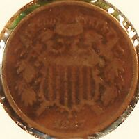 1867 TWO CENT PIECE.OBSOLETE US COPPER COIN CIVIL WAR ERA >SHIPS FREE< 2