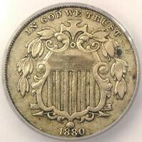 1880 SHIELD NICKEL 5C - CERTIFIED ICG EXTRA FINE 40 DETAILS EF40 -  KEY DATE COIN
