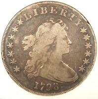 1798 DRAPED BUST SILVER DOLLAR $1 - ANACS FINE DETAILS / NET VG10 - $1500 VALUE