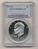 1977-S EISENHOWER DOLLAR PROOF DEEP CAMEO PCGS PR69 DCAM