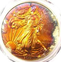 2011 TONED AMERICAN SILVER EAGLE DOLLAR $1 ASE - PCGS MINT STATE 68 - RAINBOW TONING COIN