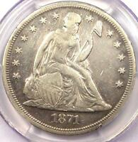1871 SEATED LIBERTY SILVER DOLLAR $1 - PCGS VF DETAILS -  CERTIFIED COIN
