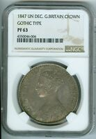 1847 UN DECIMO GREAT BRITAIN CROWN   GOTHIC TYPE  NGC PF63