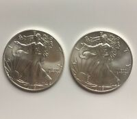 LOT OF 2 2015 AMERICAN SILVER EAGLE COINS 1OZ .999 SILVER EACH 2OZ TOTAL BU