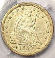 1853 ARROWS & RAYS SEATED LIBERTY QUARTER 25C   PCGS AU DETAILS    TYPE COIN