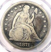1871 SEATED LIBERTY SILVER DOLLAR $1   PCGS VF DETAILS    CERTIFIED COIN