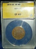 1870 ANACS EF40 TWO CENT W1571SR