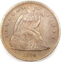 1866 MOTTO SEATED LIBERTY SILVER DOLLAR $1 - ICG AU55 -  EARLY COIN
