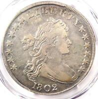 1802 DRAPED BUST SILVER DOLLAR $1 COIN   CERTIFIED PCGS VF DETAILS   NEAR XF