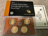 2011 S PRESIDENTIAL DOLLAR PROOF SET 4 COINS W/BOX AND COA