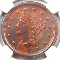 1850 BRAIDED HAIR LARGE CENT 1C - NGC UNCIRCULATED DETAIL -  MS BU UNC PENNY