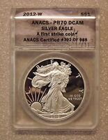 2012-W S$1 ANACS PR70 DCAM SILVER EAGLE FIRST STRIKE 392 OF 988