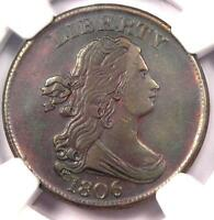 1806 DRAPED BUST HALF CENT 1/2C - CERTIFIED NGC AU DETAILS -  COIN IN AU