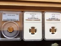 3-PIECE GOLD DOLLAR TYPE SET, ALL CH. AU.  PCGS/NGC 55,55,58