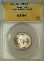 1934 LIGHT MOTTO WASHINGTON SILVER QUARTER 25C COIN ANACS MINT STATE 64 LIGHTLY TONED