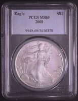 2000 AMERICAN SILVER EAGLE PCGS MINT STATE 69