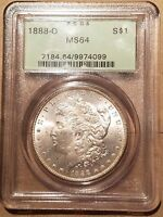 1888 O MORGAN SILVER DOLLAR LIBERTY HEAD $1 PCGS MS64 MS 64 OGH OLD GREEN HOLDER