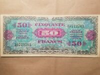 1944 FRANCE ALLIED MILITARY CURRENCY 50 FRANCS NICE WORLD WAR 2 RELIC WWII