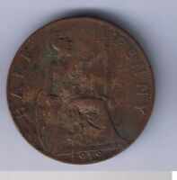 1919 UNITED KINGDOM 1/2 PENNY HALF PENCE BRITISH COIN UK GREAT BRITAIN ENGLISH