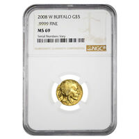 2008 W 1/10 OZ $5 GOLD BUFFALO NGC MS 69