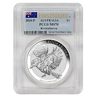 2018 1 OZ SILVER AUSTRALIAN KOOKABURRA PERTH MINT PCGS MS 70 FIRST STRIKE