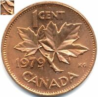 CANADA 1 CENT 1979 DIE CLASHES BU RED COIN MINT STATE STUNNING NATURAL TONING